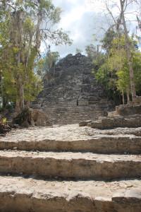 Eine Pyramide im Dschungel von Coba - Mexiko, überwuchert von Bäumen