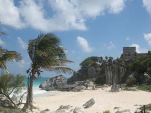 Tulum, Mexiko, Strand vor der Ausgrabungsstätte