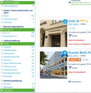 Booking.com Bewertung in der Suche