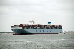 Containerschiff an der holl#ändischen Küste