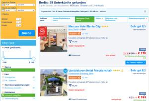Booking.com Suchmaske für Buchung